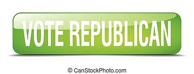 vote republican green square 3d realistic isolated web button