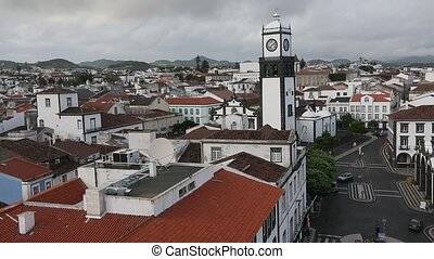 Top view of center Ponta Delgada, Azores, Portugal. (HD)
