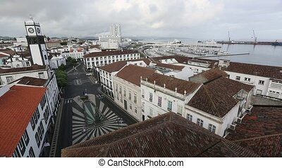 Praca da Republica of Ponta Delgada - Top view of Praca da...