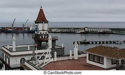 Top view of the Port of Ponta Delgada in the Azores,...