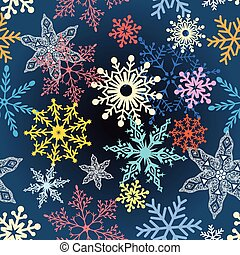 multi-colored snowflakes - Beautiful vector illustration of...