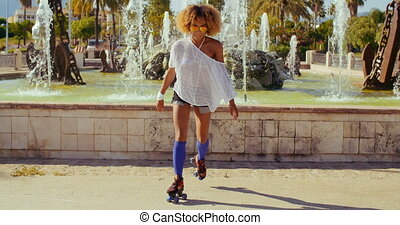 Sexy Afro American Girl on Her Roller Skates - Slow Motion...