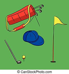 set of golf equipment illustration isolated on green...