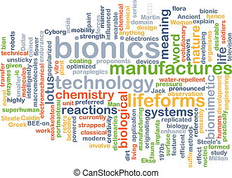 Bionics background concept - Background concept wordcloud...