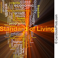 Standard of living background concept glowing