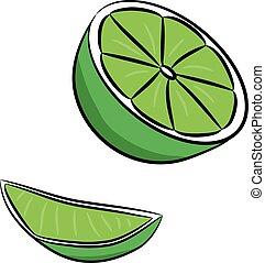 Lime fruit set, isolated on white background