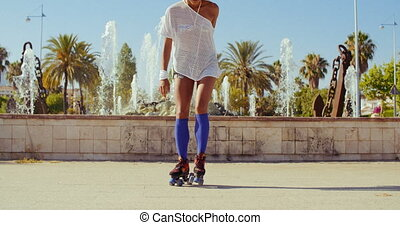 Beautiful Girl with Afro Haircut on Roller Skates - Slow...