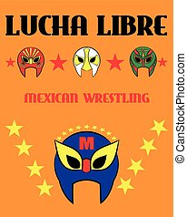 Lucha Libre - wrestling  spanish text - Mexican wrestler mask - poster