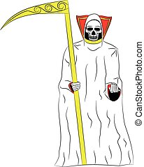 death with a scythe in his hands on white background