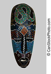 An African mask - An oblong African mask with motley spots