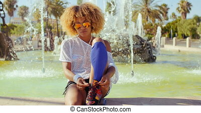Happy Smiling Girl With Afro Haircut - Slow Motion Video of...