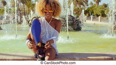 Sexy Smiling Girl With Afro Haircut - Slow Motion Video of...