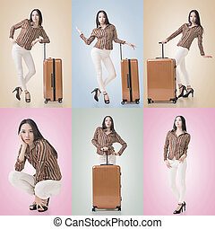 Travel concept with Asian beauty with a luggage in a set