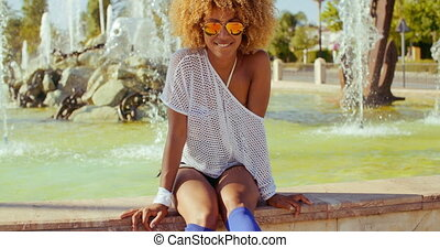 Beautiful Smiling Girl With Afro Haircut - Slow Motion Video...