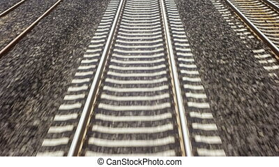 Train on the rails - Detailed high angled shot of moving...