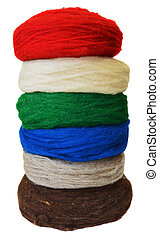 Dyed wool yarn - Multicolor wool yarn