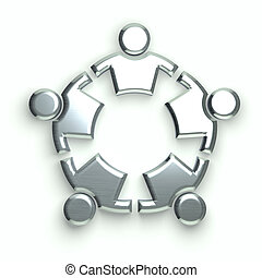 People Logo. silver circle