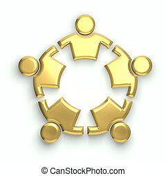 gente, logo., dorado, círculo,