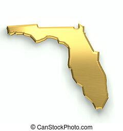 Florida golden map. 3D design