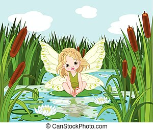 Lake Fairy - Illustration of cute fairy sitting in leaf of...