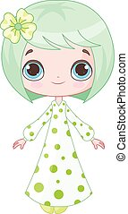 Cute Girl - Illustration of cute girl wearing pajamas