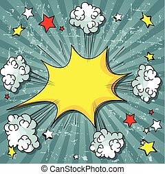 Comic Book - Illustration of elements exploding of comic...