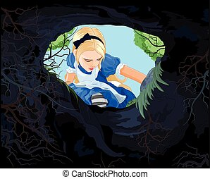 Wonderland Alice - Illustration of Alice looking to the hare...