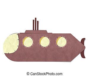 submarine Isolated on white background.