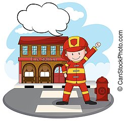 Fire station - Fire fighter standing in front of fire...