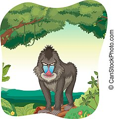 Baboon - Poster of a baboon standing on a log under a tree