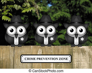 Crime prevention Zone USA - Comical British bird policemen...