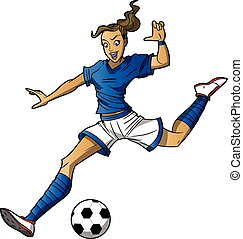 Girl Soccer Player - This is a cartoon vector illustration...