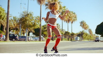 Sexy Woman Dancing on Her Roller Skates
