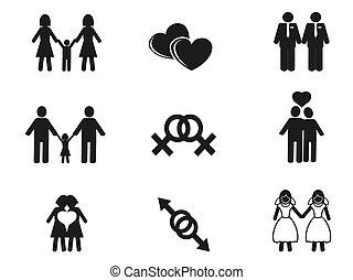 Conjunto, lesbiana, alegre, iconos