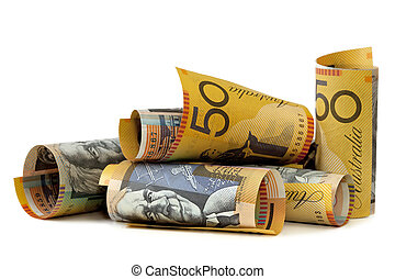 Australian Money - Australian fifty dollar notes, isolated...