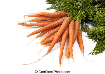 Bunch of Carrots - Bunch of baby carrots with tops, over...