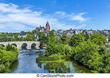 old Lahn bridge and view to Wetzlar dom - old Lahn bridge...