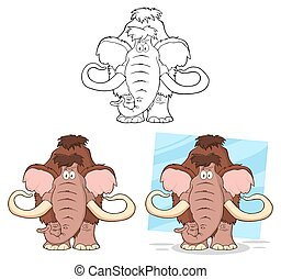 Funny Mammoth. Collection - Funny Mammoth Cartoon Character....