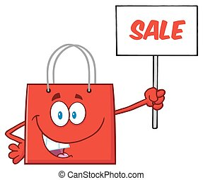Red Shopping Bag Character