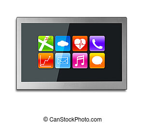 Black wide TV screen with app icons isolated on white -...