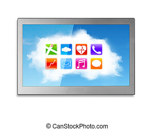 Wide TV screen with white clouds colorful app icons - Wide...