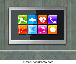 Black wide TV screen with app icons hanging on wall