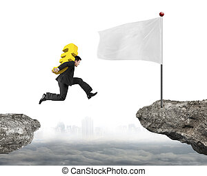 Jumping businessman carrying euro sign to flag on cliff -...