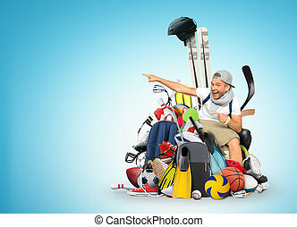 Sport - Guy in white t-shirt and a bunch of sports equipment