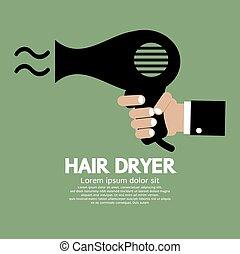 Hair Dryer. - Hand Holding Hair Dryer Vector Illustration.