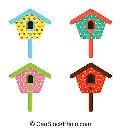 Colorful Birdhouses.