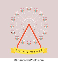 Ferris Wheel. - Ferris Wheel Vector Illustration.