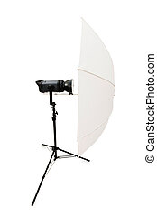 Studio strobe isolated on the white background