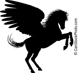 Hind Legs Pegasus Silhouette - Pegasus mythical winged horse...