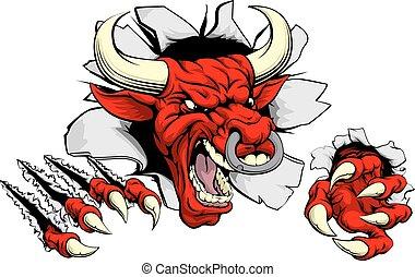 vermelho, touro, rasgando, através, fundo,